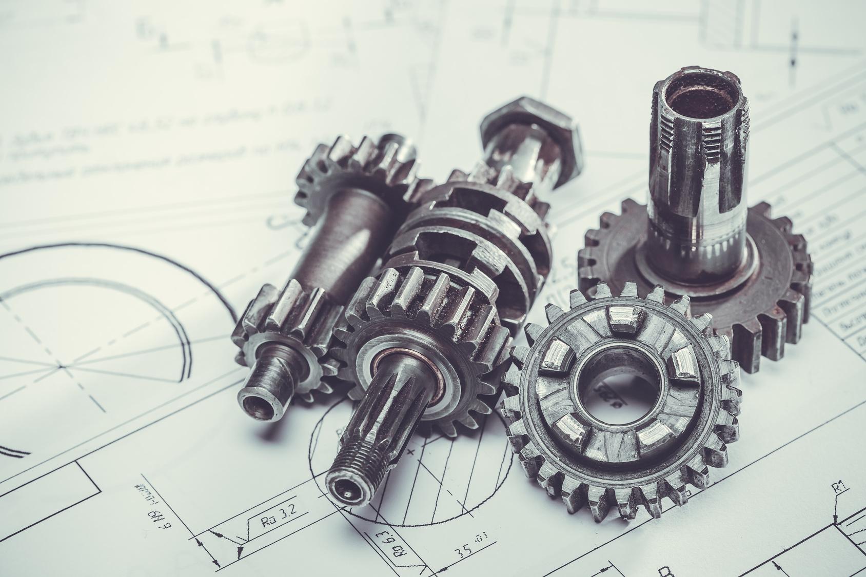 metal gears on the engineering drawings